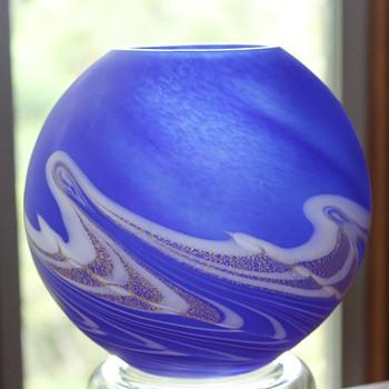 Iwata Kuri Nami Vase 1988 - Art Glass