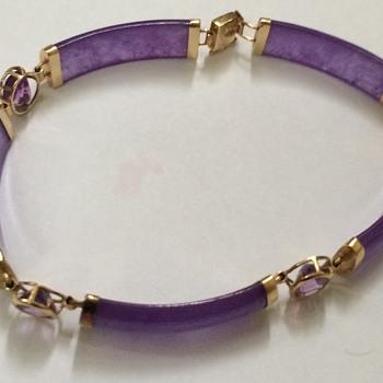 Gold lilac Jade Bracelet
