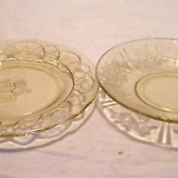 Amber Depression Glass Plates