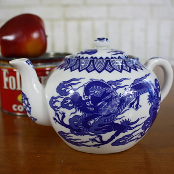 Mid Century Blue + White Porcelain Emporor Dragon Tea Pot