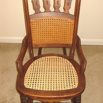 Unusual wood and cane ladies rocking chair