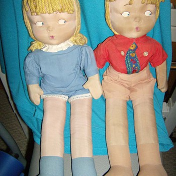 Vintage Cloth Boy and Girl Dolls  - Dolls