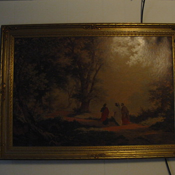 "Robert Zund ""Way to Emmaus"" oil repro. in guilded frame"