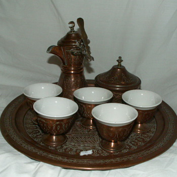 Antique 19th Century Copper Turkish Coffee Set