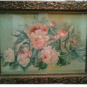 "Antique Gesso Frame / Flower and Leaf Design 21"" x 28""/ Labeled A. Jos. Nurre / Circa 19th Century - Visual Art"