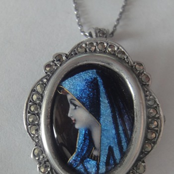 Virgin Mary Limoges  Pendant/Brooch Antique French Sterling Enamel and Marcasite