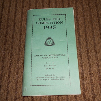 american motorcycle association 1935 rule book - Motorcycles