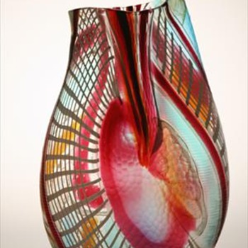 Murano Art Glass vase by Maestro Afro Celotto titled TIBERIO - Art Glass