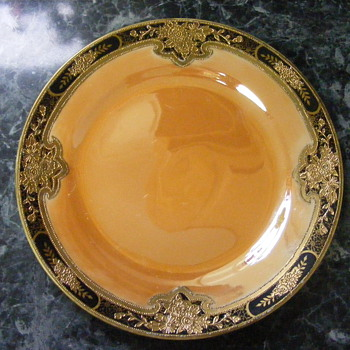 GOLD ENCRUSTED,BLACK BAND,ORANGE LUSTREWARE NORITAKE