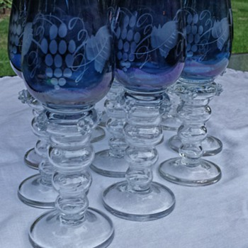 20thc Roemer Hock etched blue glasses applied prunts, Art Nouveau (1890-1914)