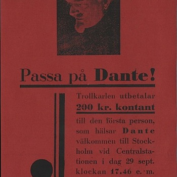 Original Dante The Magician Flyer ca. 1930 - Advertising