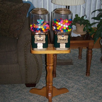 Dual Vendworx Candy/Gumball machine on Wooden Stand
