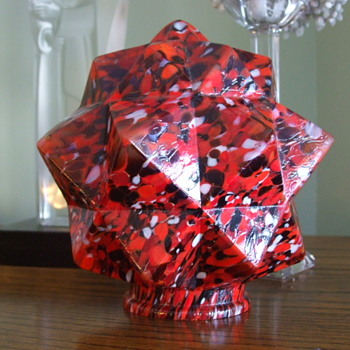 "Fiery Red with Black- Bohemian/Czech ""STAR""  Spatter Glass Lamp Shade"