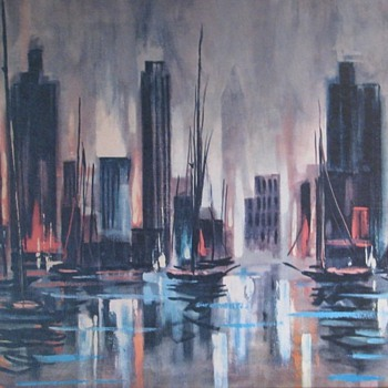 Mid Century Modern Metropolitan Harbor by Allan McClain