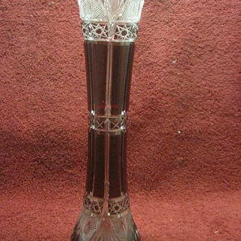 Blown Glass Cut to Clear Vase