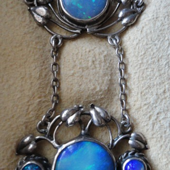 British Arts & Crafts Silver and Opal Floral Necklace