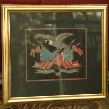 Folk Art or Americana artwork - silk needlepoint patriotic Eagle and flag - Folk Art