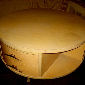 "Eames? Unusual 32"" x 20"" Blonde Round Rotating 3 drawer Drum Coffee Table"