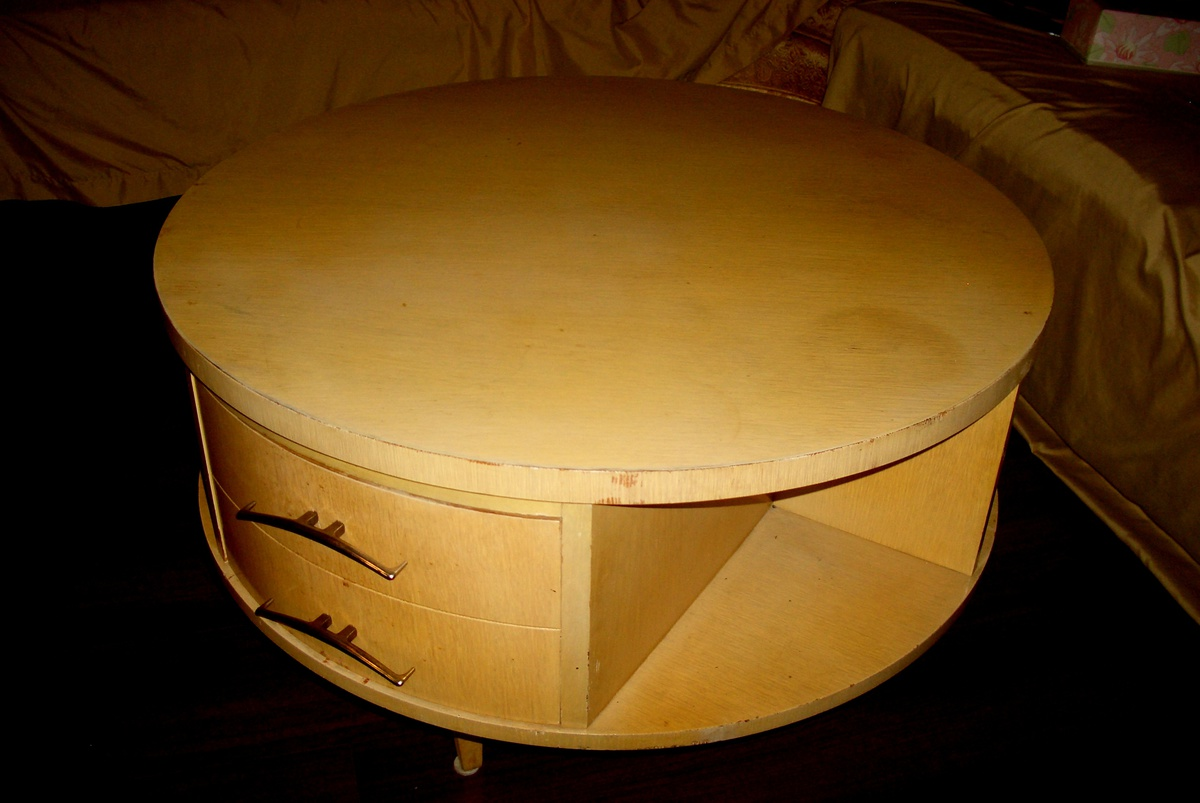 Eames Unusual 32 X 20 Blonde Round Rotating 3 Drawer Drum Coffee Table Collectors Weekly