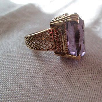 14K gold and amethyst ring - Costume Jewelry
