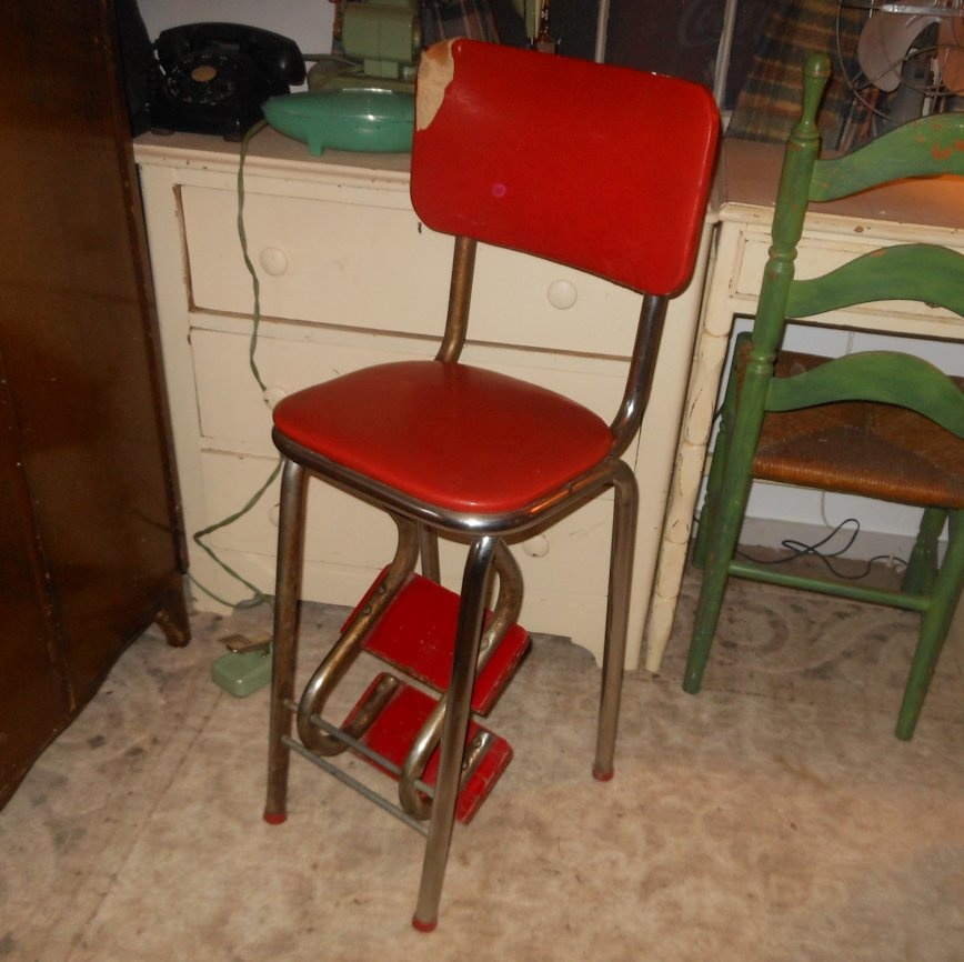 Vintage Kitchen Stool With Folding Steps