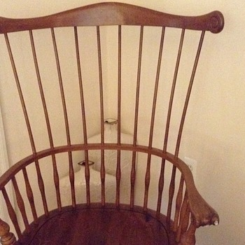 Vintage maple double spindle back chair