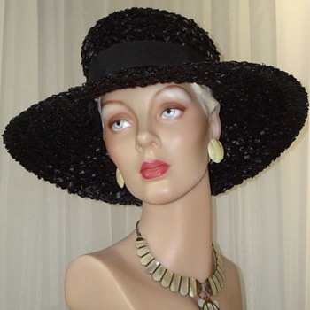 Wonderful Wide Brim Black Woven Straw Hat With B&amp;W Ribbon - Hats