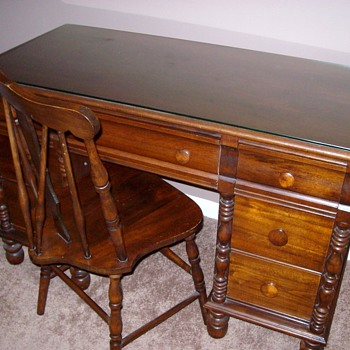 Early 1920's Maple Desk & Chair With Glass Top - Furniture