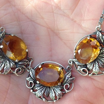 Bernard Instone Silver and Citrine Necklace - Art Deco