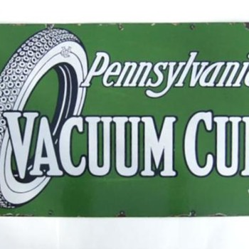 Pennsylvania Vacuum Cup enamel sign