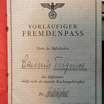 German foreigners passport issued to French forced labourer