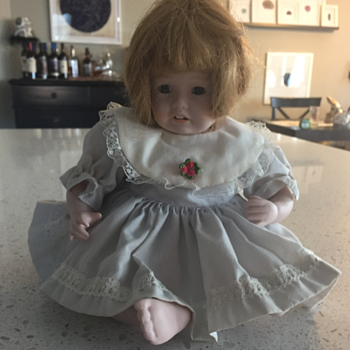 Cloth Body, Sitting Doll, Sewn on Head full legs and arms. - Dolls