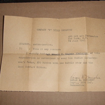 WW2 Authorization to wear a Combat Infantryman&#039;s Badge - Military and Wartime