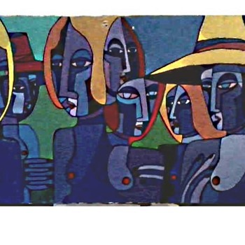"""Seven Women"" By Bisset /27"" x 36"" Oil-Acrylic on Canvas /Circa 1998 - Visual Art"
