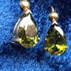 18k Victrian Sphene Pear Shape Earrings