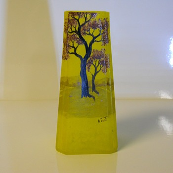 Art Deco, Pate de Verre, French Art Glass Vase