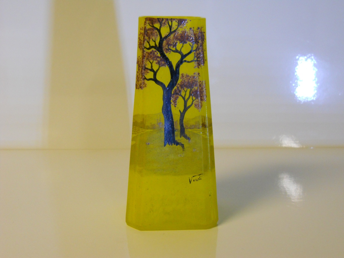 art deco pate de verre french art glass vase. Black Bedroom Furniture Sets. Home Design Ideas