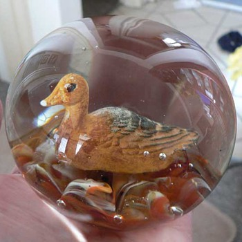 Duck Sulphide paperweight embossed STA on base. - Art Glass