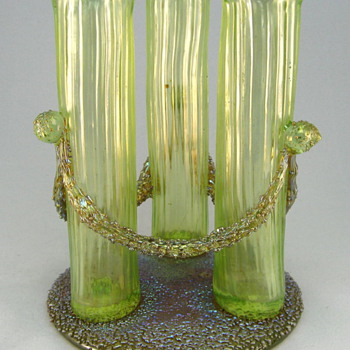 Loetz Empire 3-tube Vase - Art Glass