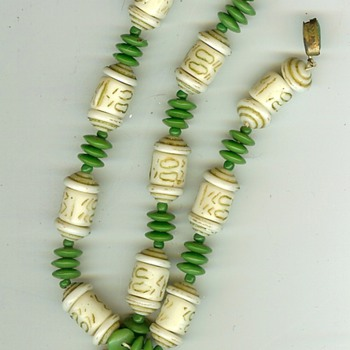 Unknown Vintage Ivory? and Bead Necklace - Fine Jewelry
