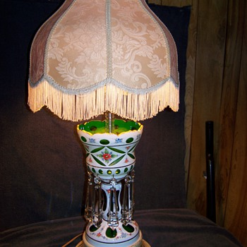 Bohemian Overlay Cut To Green Lustre Lamp - Lamps
