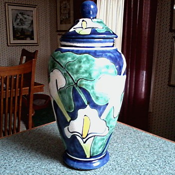 "Large Talavera Pottery ""Calla Lily""  Vase-Jar with Lid / Marked Talavera Castillo Mexico/Circa 19??"