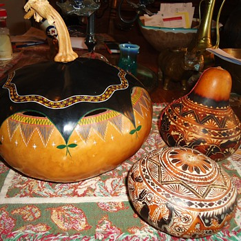 Gourds 2 Peru, 1 Mexico and surprise inside one!!! - Folk Art