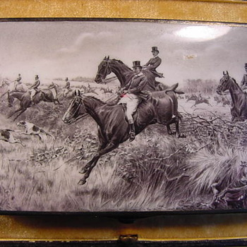 Equestrian Hunting Themed Antique Enamel, Silver &amp; Gold Cigarette Case - Tobacciana