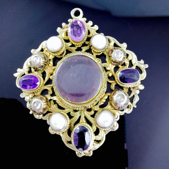 Victorian Rose Cut Diamond Amethyst Pearl Ornate Mourning Pendant 800 Silver  - Victorian Era