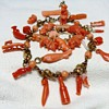 Antique Hand Carved Victorian Coral Charms