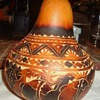 "YES!  Too early for Christmas!  but Peru Christmas Gourd, folk art 5"" tall"