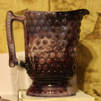 Slag glass pitcher
