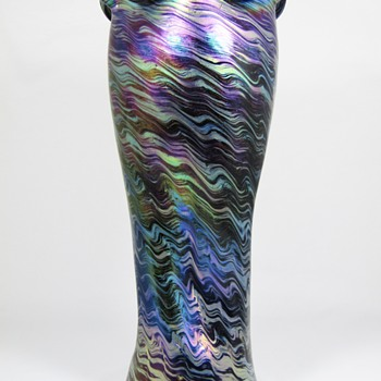 "Rindskopf Cobalt ""Striated"" Glass Vase ca. 1900"