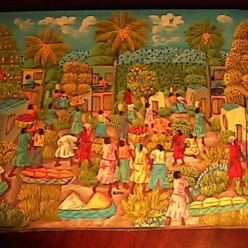 Oil on Linen Haiti Artist Alaby DAV Find! - Folk Art